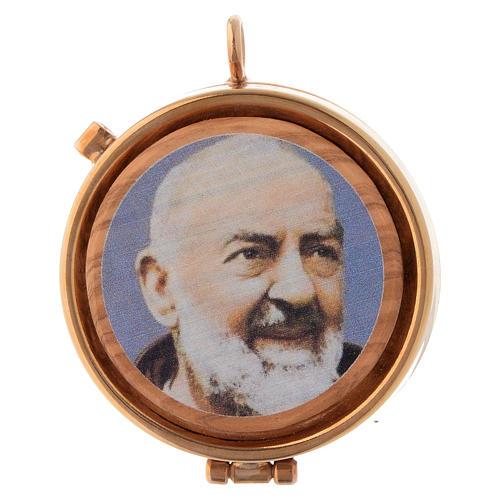 Custode plaque olivier Padre Pio diam. 5 cm 1