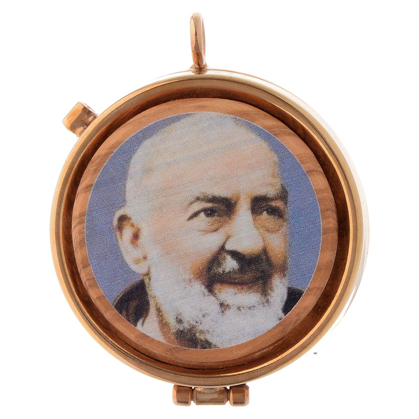 Teca placca olivo Padre Pio diam 5 cm 3