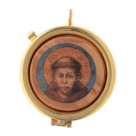 Teca placca ulivo San Francesco Assisi diam. 6 cm s1