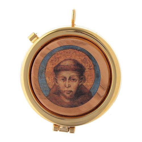 Teca placca ulivo San Francesco Assisi diam. 6 cm 1
