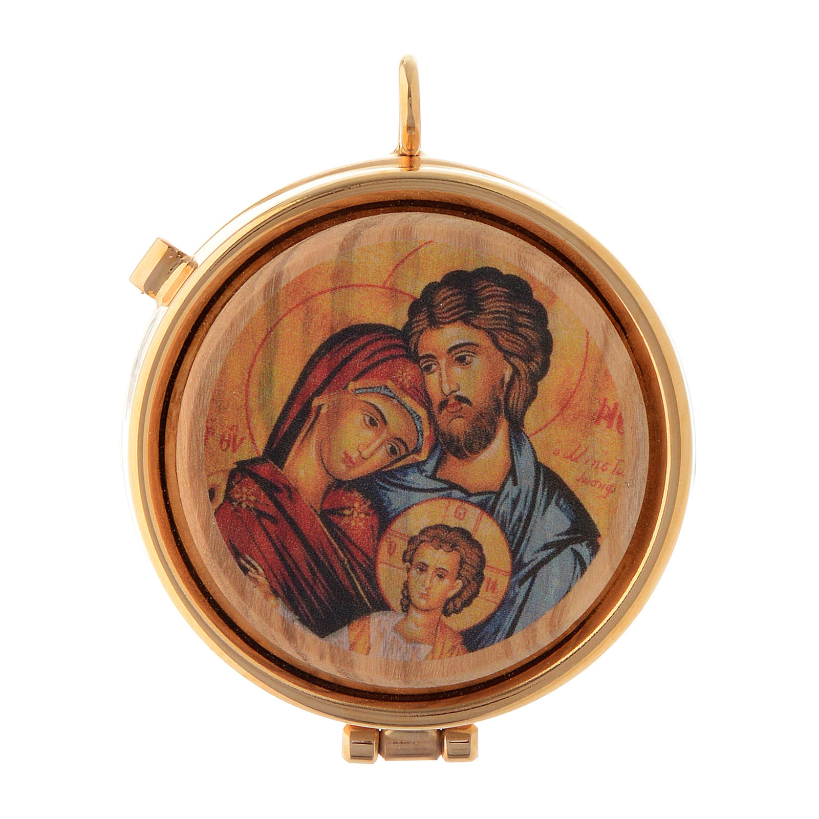 Pyx olive wood plaque Holy Family 5cm 3