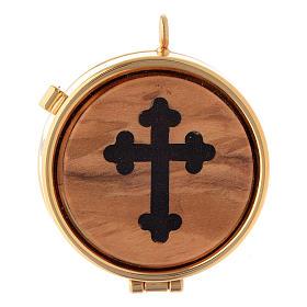 Caixas de Hóstias: Caixa com placa de oliveira cruz em trevo diâm. 5 cm