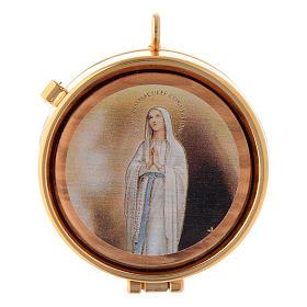 Teca placca olivo Vergine di Lourdes diam. 5 cm s1