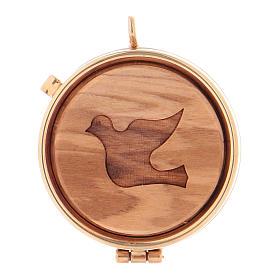 Caixas de Hóstias: Caixa com placa de oliveira pomba da paz diâm. 5 cm