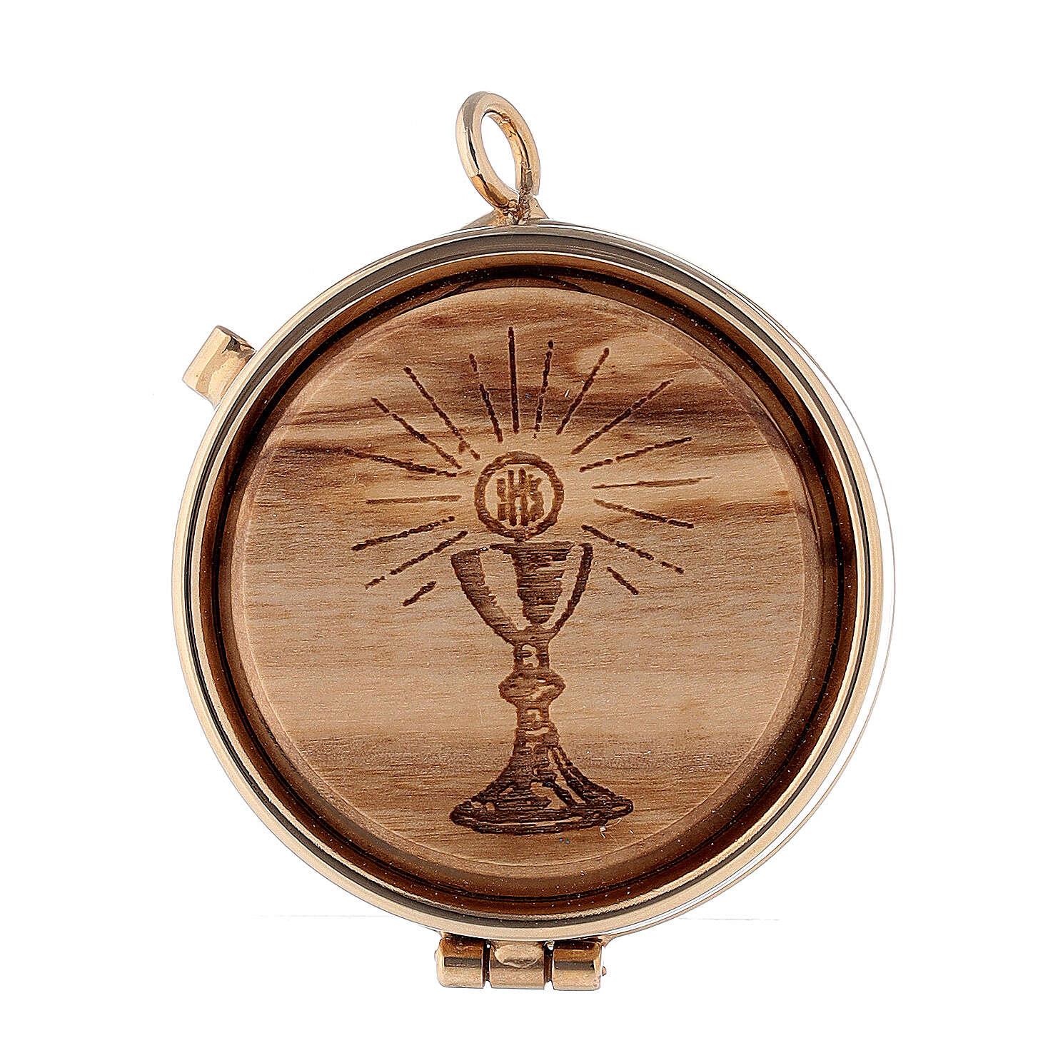 Custode pour hosties plaque olivier Calice Eucharistie 5 cm 3