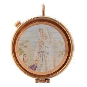 Caixas de Hóstias: Caixa com placa de oliveira Nossa Senhora Lourdes e Bernadette 5 cm