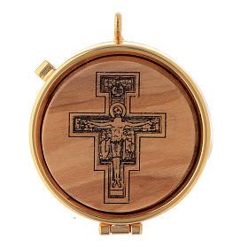 Caixas de Hóstias: Caixa com placa de oliveira Crucifixo São Damião 5 cm