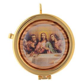 Relicario Eucarístico latón y madera de olivo diám. 6 cm Última Cena diám. 6 cm s1