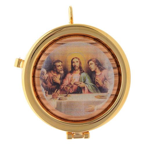 Relicario Eucarístico latón y madera de olivo diám. 6 cm Última Cena diám. 6 cm 1
