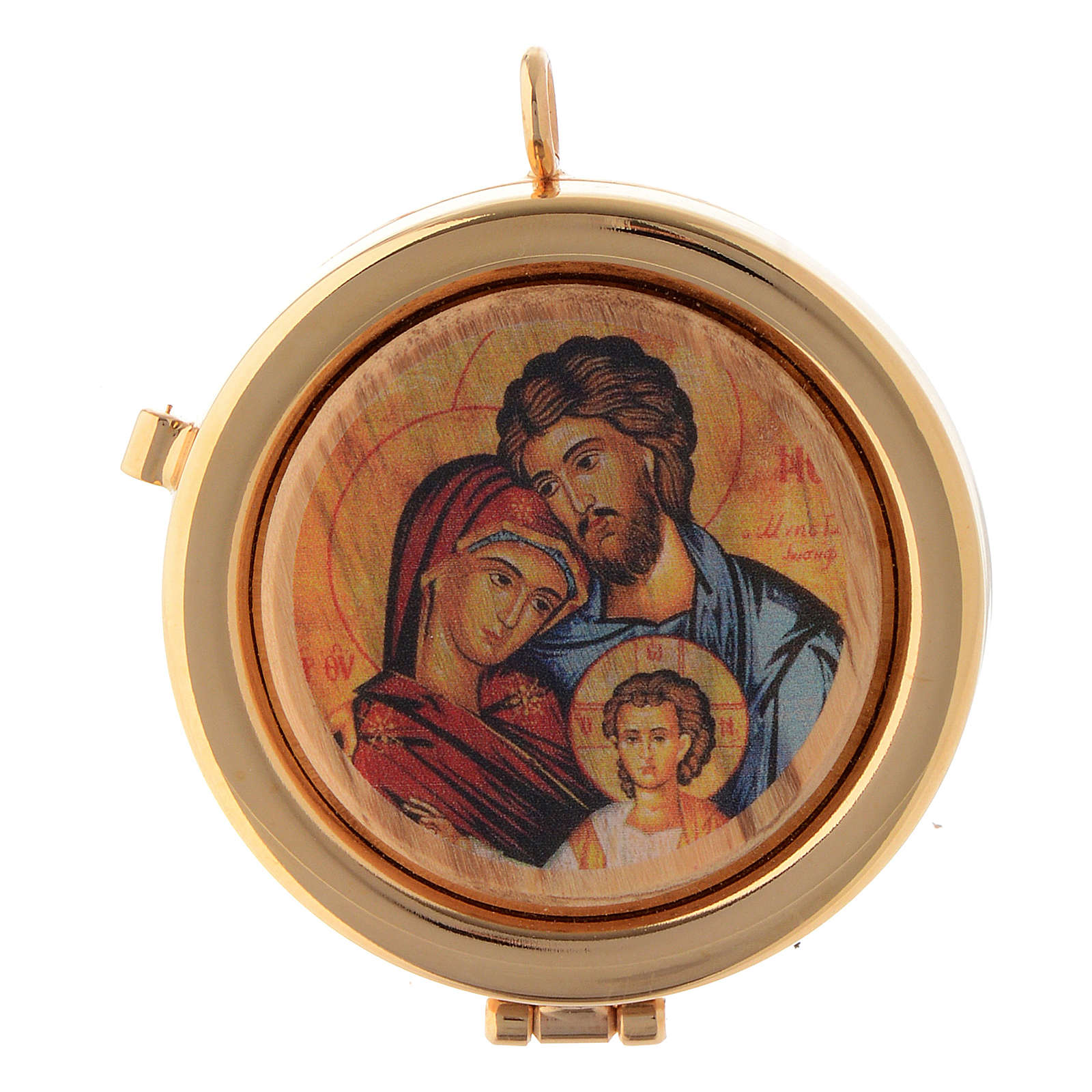Pyx olive wood plaque Byzantine Holy Family 6cm 3