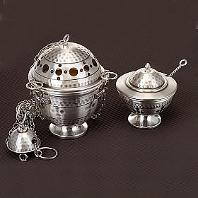 Thurible and boat, embossed and cross decorated s4