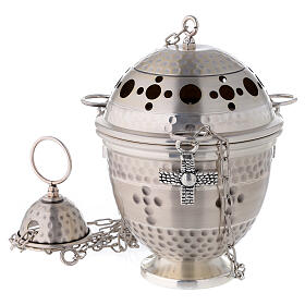 Thurible and boat, embossed and cross decorated s2
