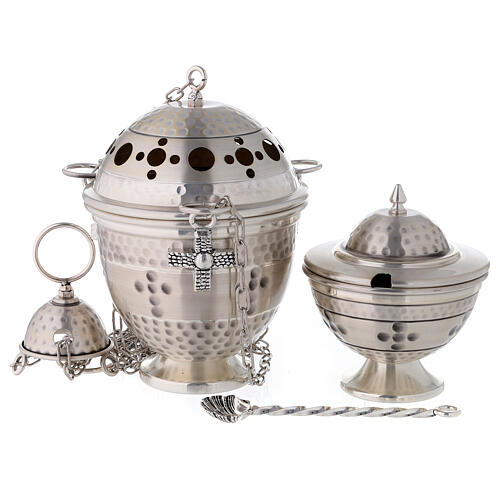 Thurible and boat, embossed and cross decorated 1