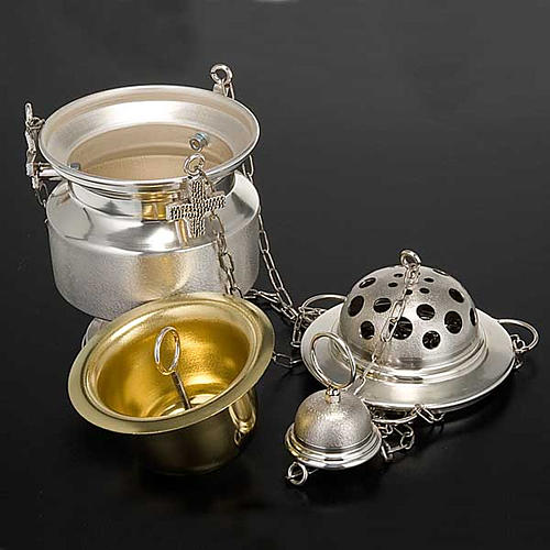 Censer and boat in satin silver 8