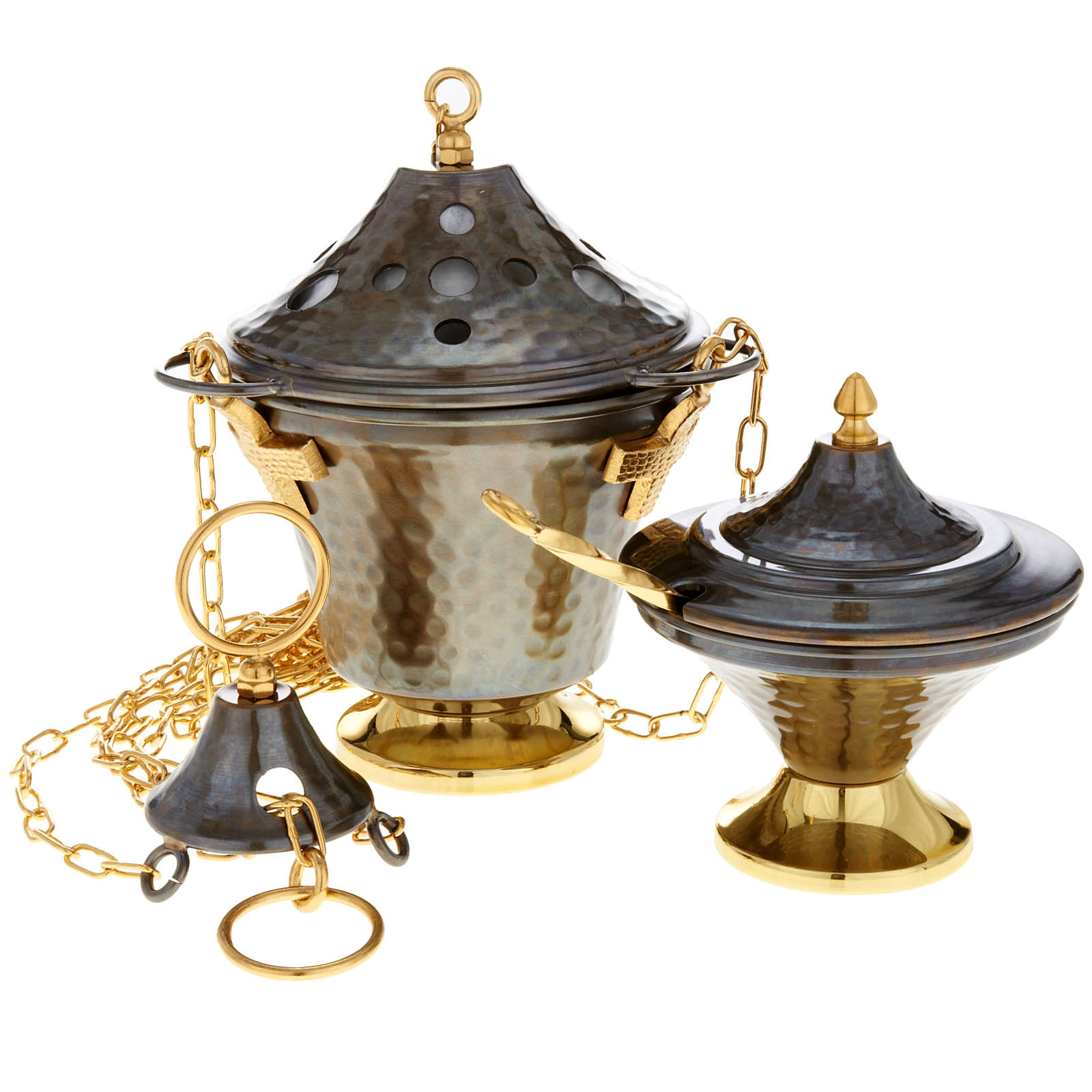 Encensoir et navette en bronze repoussés 3