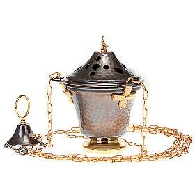 Encensoir et navette en bronze repoussés s7