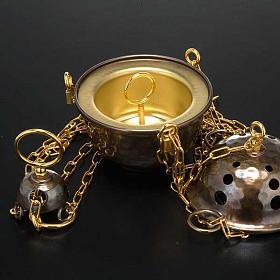 Encensoir et navette repoussés en laiton s6