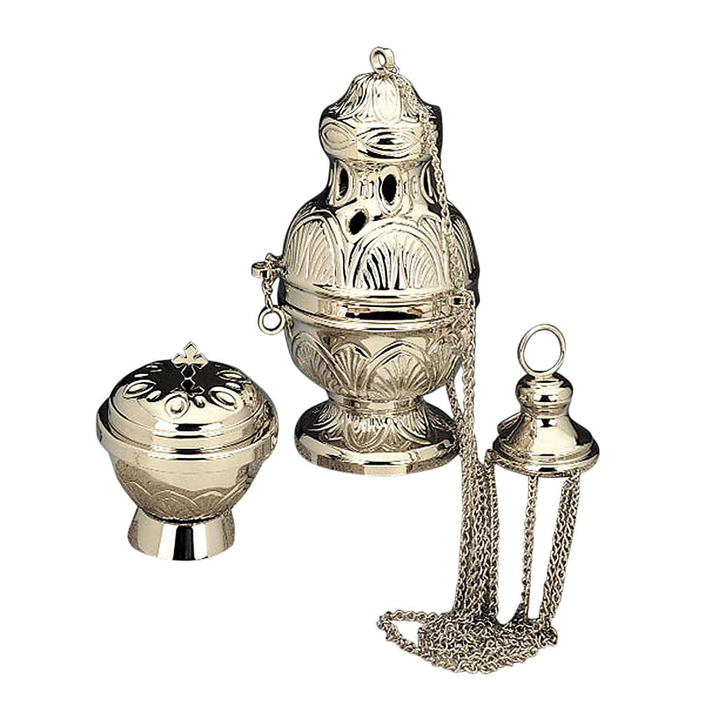 Censer and boat in nickel-plated brass 3