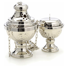 Censer and boat in silver plated brass hand chiseled s3