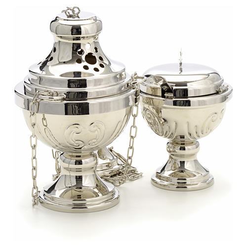 Censer and boat in silver plated brass hand chiseled 3