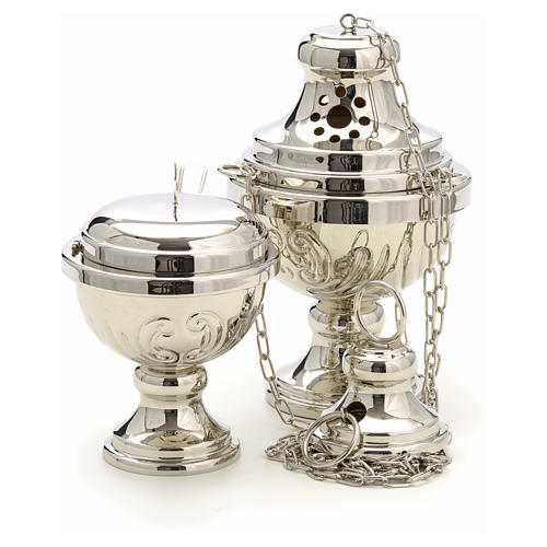 Censer and boat in silver plated brass hand chiseled 4