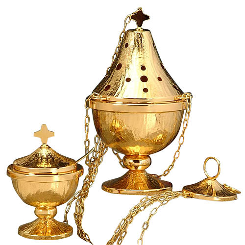 Censer and boat in golden and silver plated brass 1