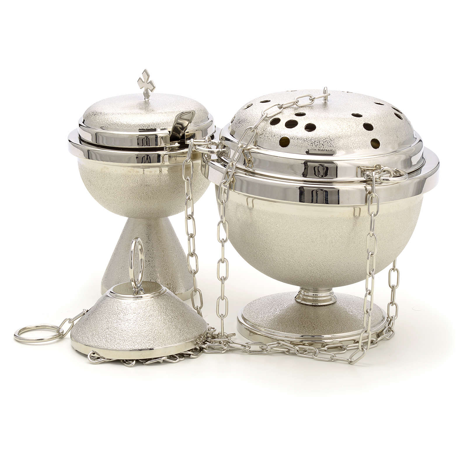 Censer and boat in nickel plated brass 3