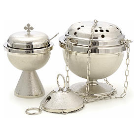 Censer and boat in nickel plated brass s1