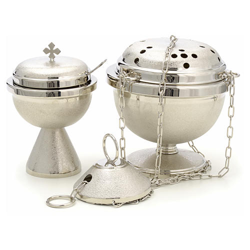 Censer and boat in nickel plated brass 1