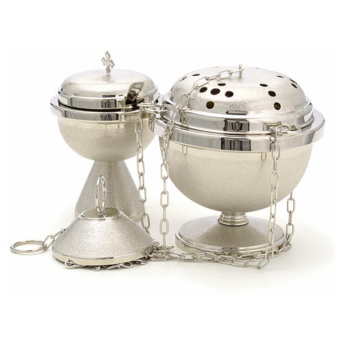 Censer and boat in nickel plated brass 2