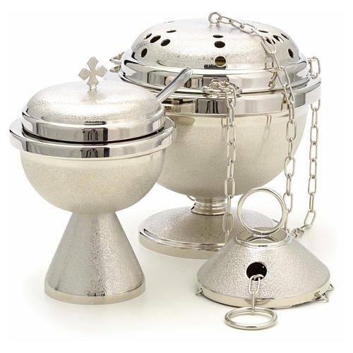 Censer and boat in nickel plated brass 4