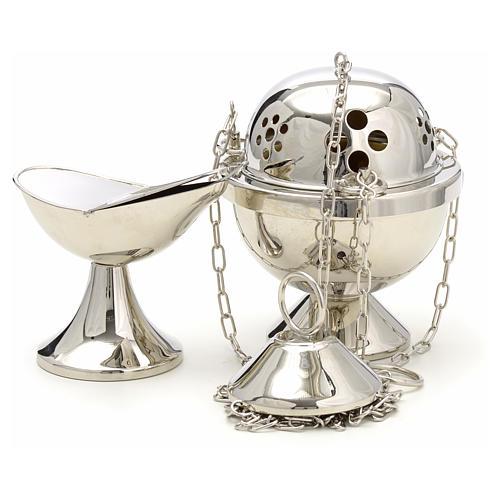 Encensoir et navette laiton nikelé martelé 1