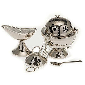 Censer and boat in nickel plated brass smooth s1