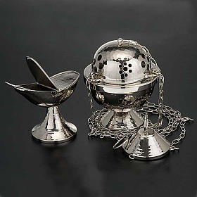 Censer and boat in nickel plated brass smooth s2
