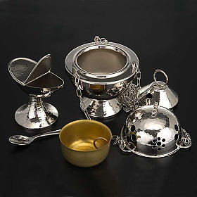 Censer and boat in nickel plated brass smooth s3