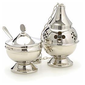 Encensoir et navette laiton doré argenté, lisse s3