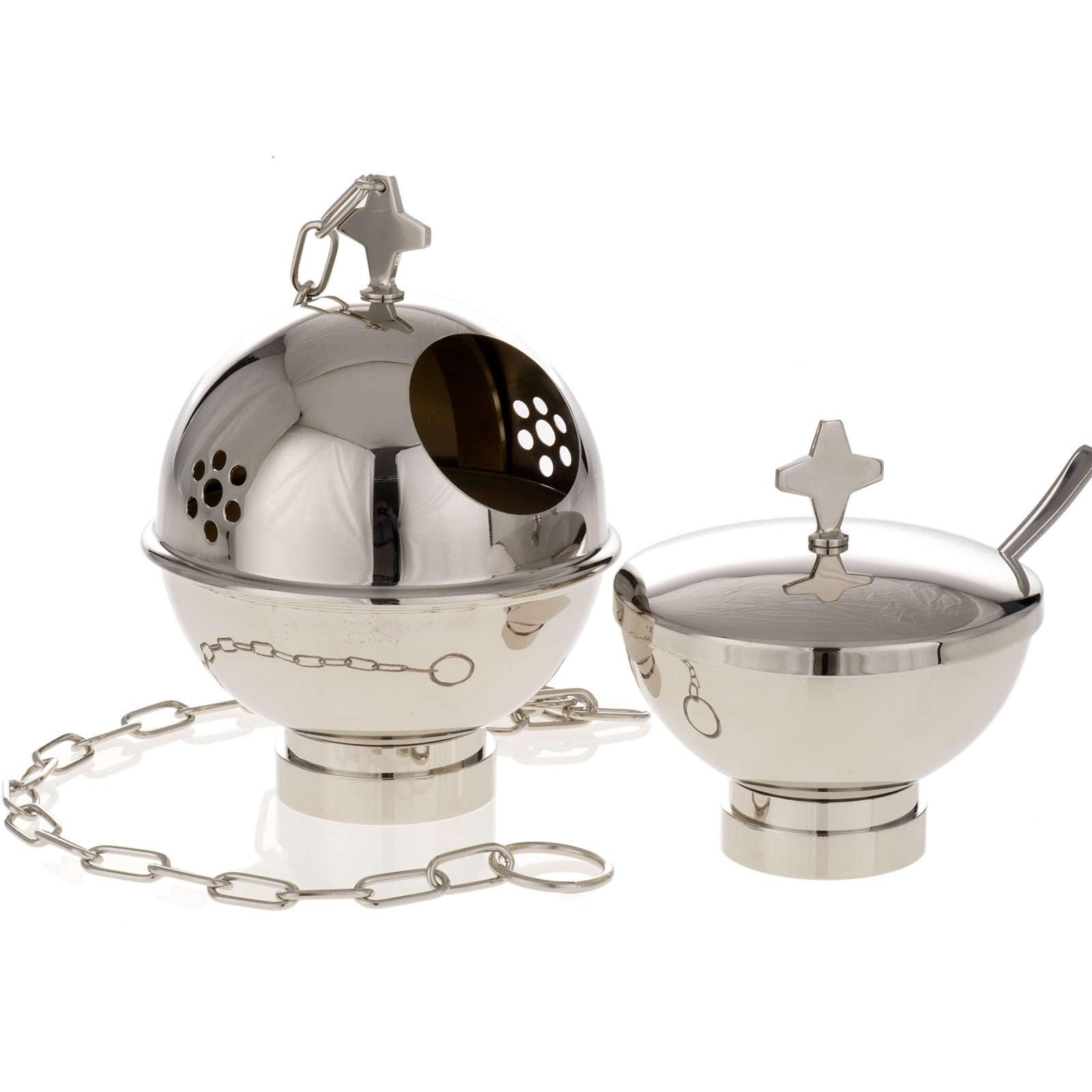 Encensoir et navette laiton doré et nikelé 3