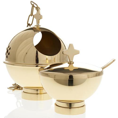 Encensoir et navette laiton doré et nikelé 1