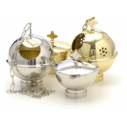 Encensoir et navette laiton doré et nikelé 11