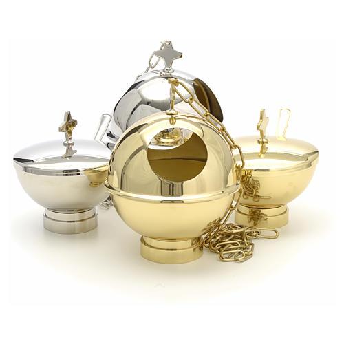 Encensoir et navette laiton doré et nikelé 12