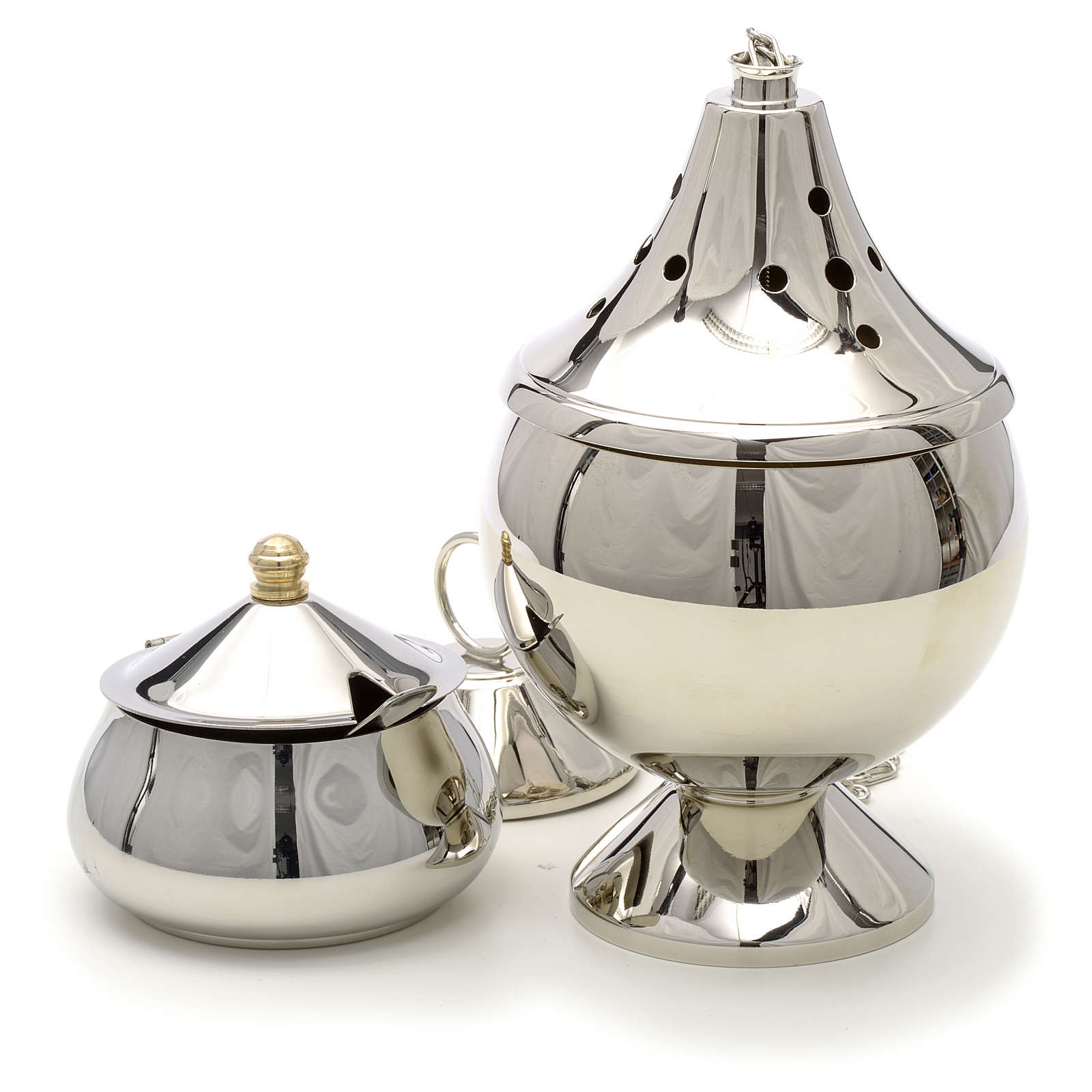 Censer and boat nickel plated brass 3