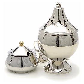 Censer and boat nickel plated brass s2