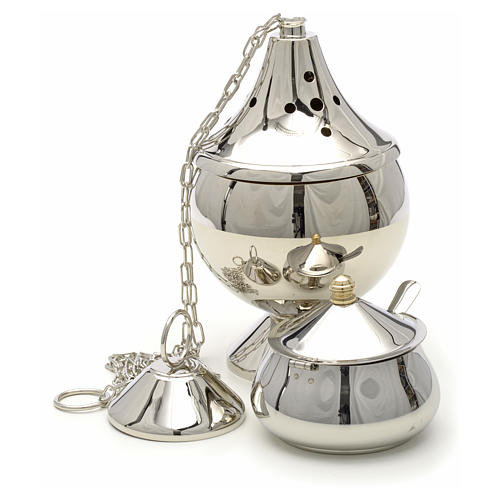 Censer and boat nickel plated brass 4