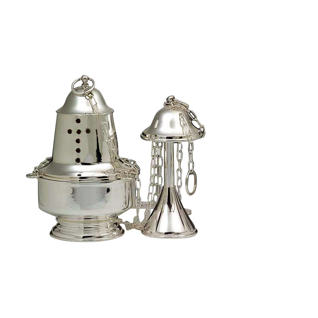 Turibolo con navicella stile moderno argento 800 3