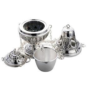 Encensoir et navette ovale laiton fondu ciselé s4