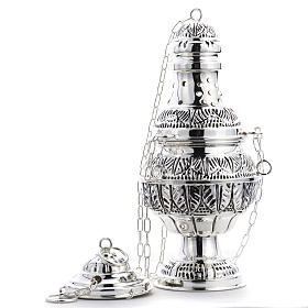 Thurible and oval boat in silver plated chiselled cast brass s7