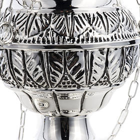 Thurible and oval boat in silver plated chiselled cast brass s8