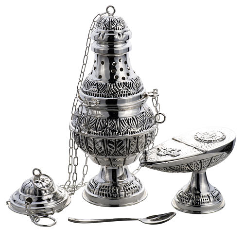 Thurible and oval boat in silver plated chiselled cast brass 1