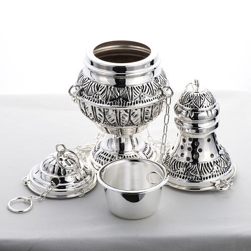 Thurible and oval boat in silver plated chiselled cast brass 9
