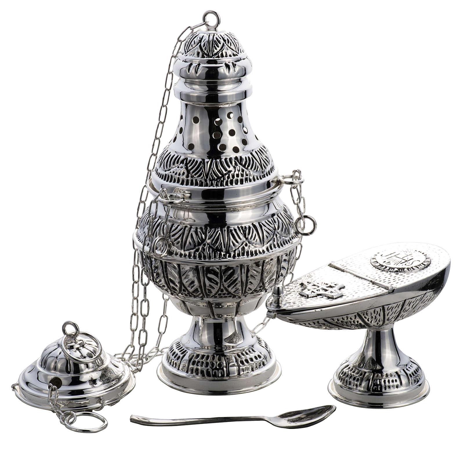 Encensoir et navette ovale laiton fondu ciselé argenté 3
